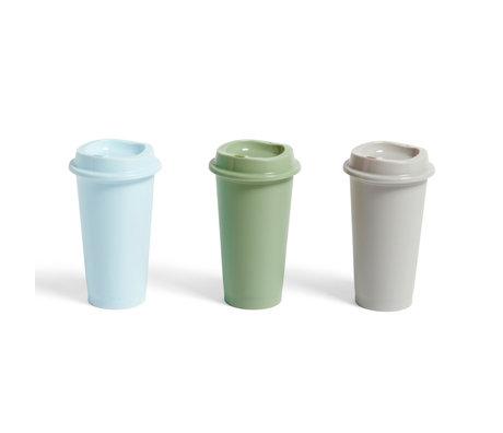 HAY Koffiebeker Paquet blauw groen kunststof set van 3 ¯9x16cm