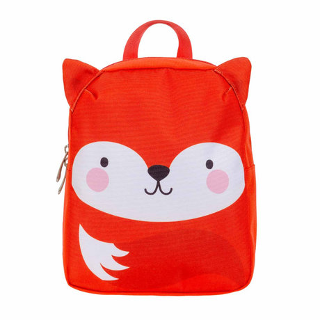 A Little Lovely Company Rugzak Fox oranje wit polyster 21x10x26cm