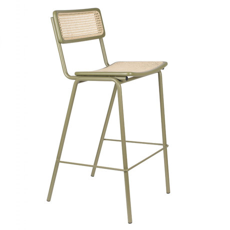 Zuiver Bar stool Jort green natural brown webbing wood metal L 47x52x106cm
