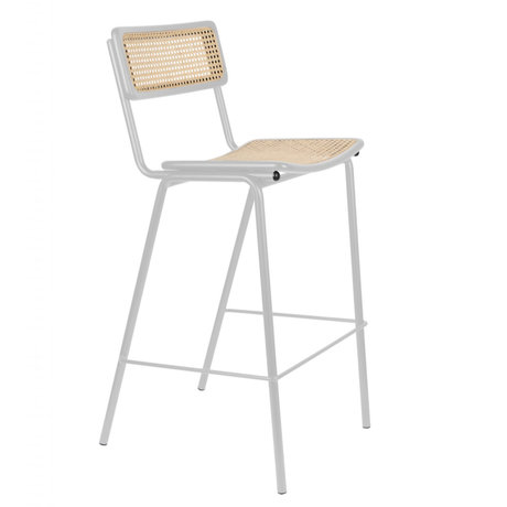 Zuiver Bar stool Jort gray natural brown webbing wood metal L 47x52x106cm
