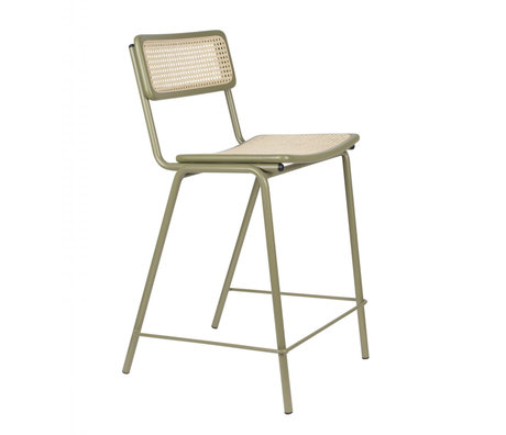 Zuiver Bar stool Jort green natural brown webbing wood metal S 47x52x93,5cm