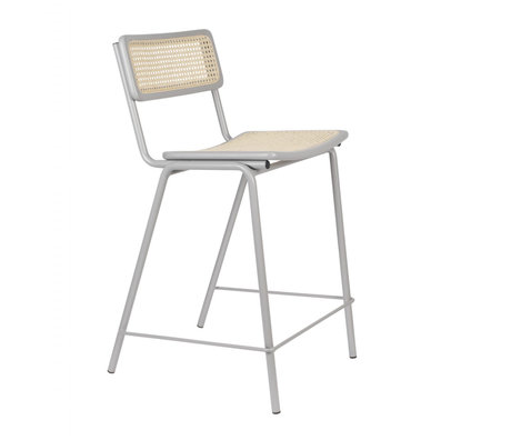 Zuiver Bar stool Jort gray natural brown webbing wood metal S 47x52x93,5cm