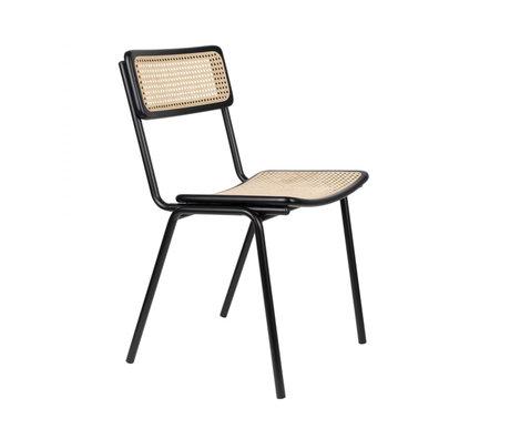 Zuiver Chaise de salle à manger Jort noir sangle marron naturel bois métal 47x51x81cm