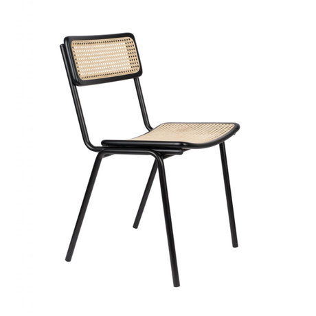 Zuiver Dining chair Jort black natural brown webbing wood metal 47x51x81cm