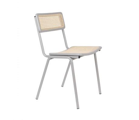 Zuiver Chaise de salle à manger Jort gris naturel marron sangle bois métal 47x51x81cm