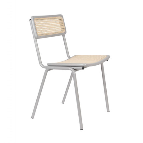 Zuiver Dining chair Jort gray natural brown webbing wood metal 47x51x81cm