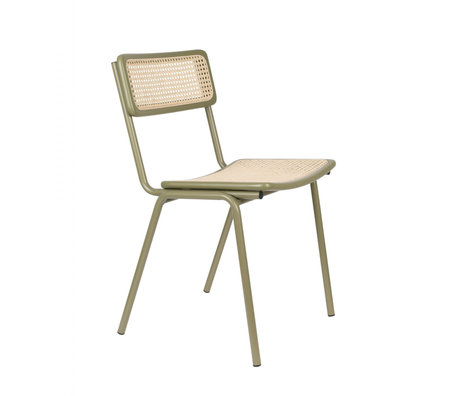 Zuiver Dining chair Jort green natural brown webbing wood metal 47x51x81cm