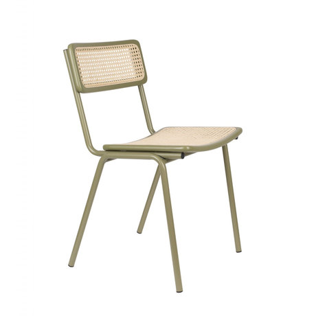 Zuiver Chaise de salle à manger Jort vert sangle marron naturel bois métal 47x51x81cm