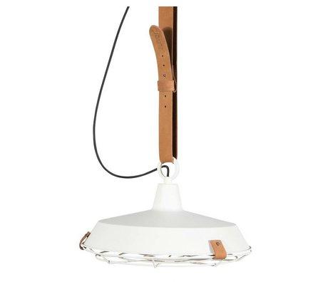 Zuiver Pont 40 métal blanc pendentif lumière cuir marron Ø40x18cm