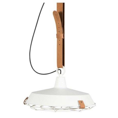 Zuiver Hanglamp Dek 40 wit bruin metaal leer Ø40x18cm