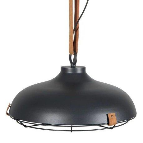 Zuiver Hängeleuchte Deck 51 Anthrazit Metallic braunem Leder Ø51x22cm
