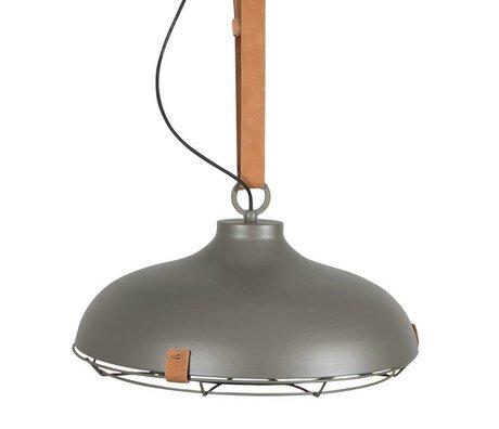 Zuiver Pont 51 métal gris lumière pendante cuir marron Ø51x22cm