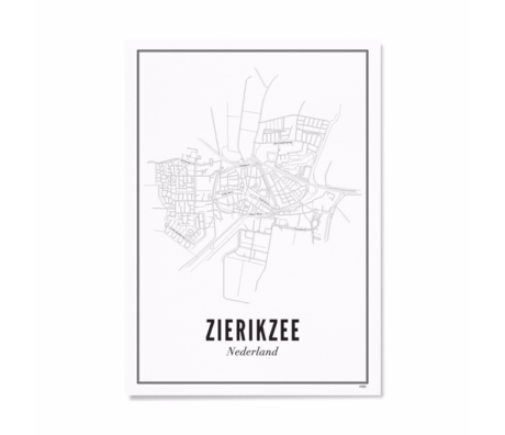 Wijck Poster Zierikzee zwart wit papier 30x40cm
