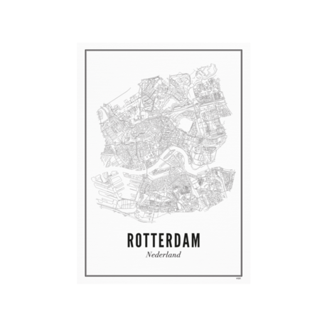 Wijck Poster Rotterdam zwart wit papier 21x30cm