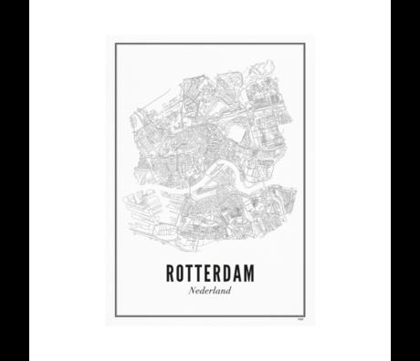 Wijck Poster Rotterdam zwart wit papier 30x40cm