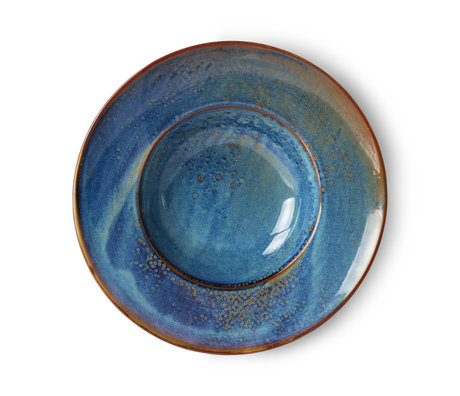 HK-living Bord Home Chef blauw keramiek ¯28,5x5,8cm