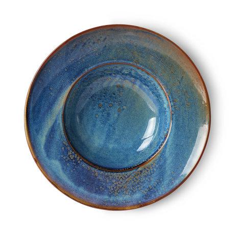 HK-living Bord Home Chef blauw porselein Ø28,5x5,8cm