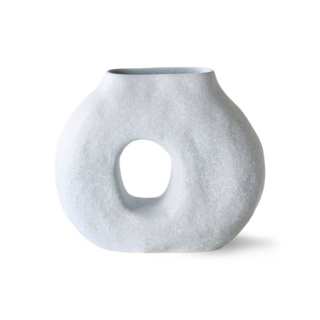 HK-living Vaas Organic Circle ijsblauw keramiek 23,5x9x20cm