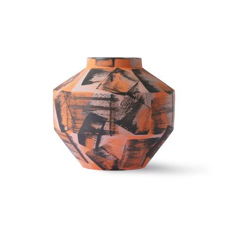 HK-living Vase Brushed orange black ceramic ¯17.5x16cm