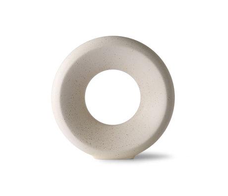 HK-living Vaas Circle M wit keramiek 25x8x24,5cm
