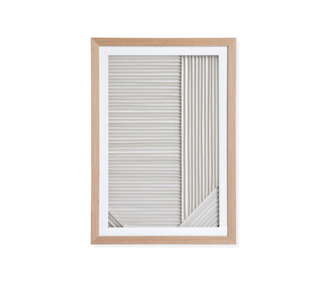 HK-living Kunstlijst Layered Paper A naturel wit papier hout 42x4x60cm