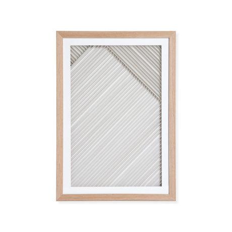 HK-living Kunstlijst Layered Paper B naturel wit papier hout 42x4x60cm