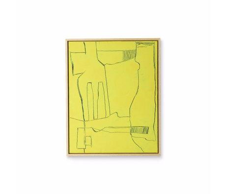 HK-living Kunstlijst Brutalism geel zwart canvas 43x4x53cm