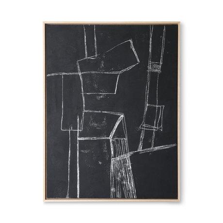 HK-living Kunstlijst Brutalism zwart canvas 63x4x83cm