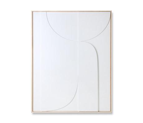 HK-living Kunstlijst Relief B wit hout 100x4x123cm