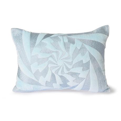 HK-living Sierkussen Graphic ijsblauw textiel 35x50cm