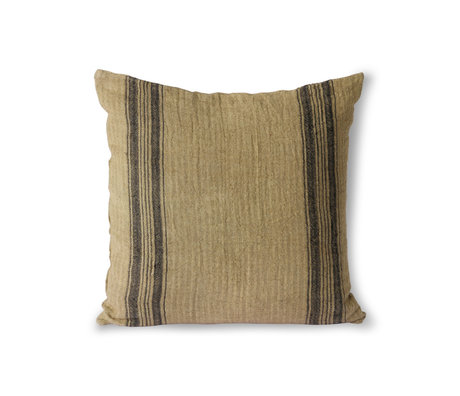 HK-living Sierkussen Linen bruin textiel 45x45cm