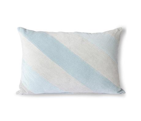 HK-living Sierkussen Striped Velvet ijsblauw textiel 40x60cm