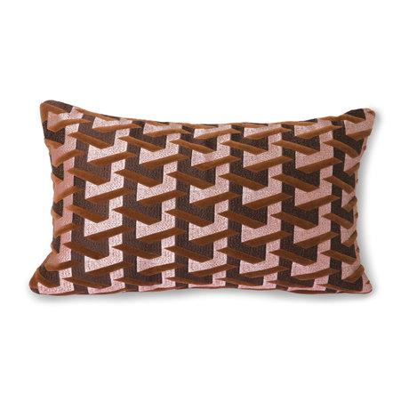 HK-living Sierkussen Geometric bordeauxrood textiel 30x50cm