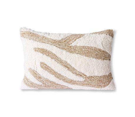 HK-living Sierkussen Fluffy wit beige textiel 35x55cm