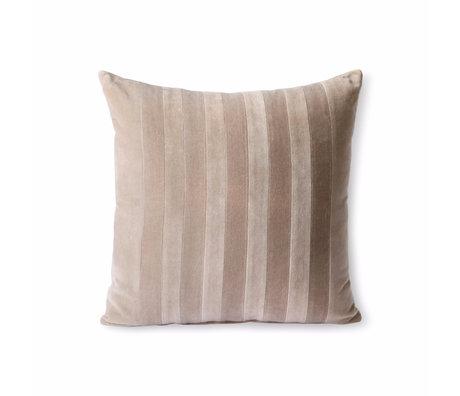 HK-living Sierkussen Striped Velvet lichtroze textiel 45x45cm