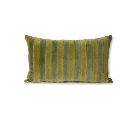 HK-living Sierkussen Striped Velvet groen textiel 30x50cm