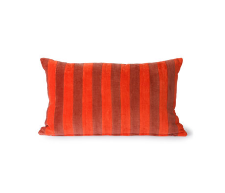 HK-living Sierkussen Striped Velvet rood textiel 30x50cm