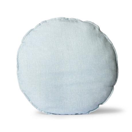 HK-living Zitkussen Linen Round ijsblauw textiel ¯60cm