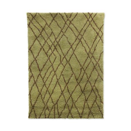 HK-living Vloerkleed Zigzag olijfgroen bruin wol 180x280cm