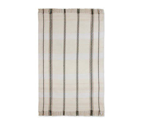 HK-living Vloerkleed Stripes zwart wit textiel 150x240cm