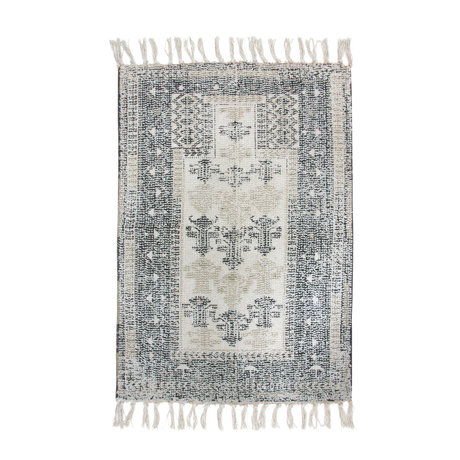 HK-living Badmat Overtufted zwart wit textiel 60x90cm