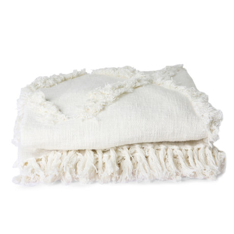 HK-living Bedsprei Fringe wit textiel 270x270cm
