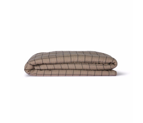 HK-living Bedsprei Checkered Sherpa Throw bruin textiel 130x170cm