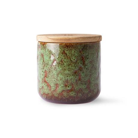 HK-living Kaars Floral Boudoir bruin groen hout keramiek Ø10,5x10cm