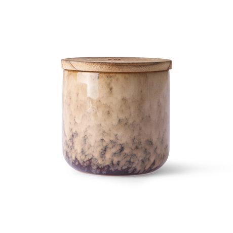 HK-living Kaars Casa Fruits lichtroze hout keramiek Ø10,5x10cm