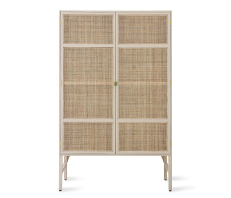 HK-living Kast Retro Webbing beige rotan hout incl. legplanken 125x40x200cm