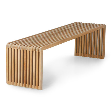 HK-living Bankje Slatted bruin hout 160x43x45cm
