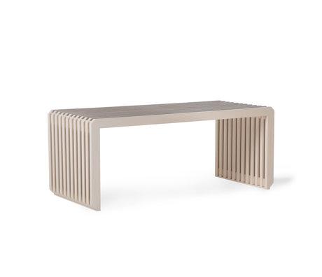 HK-living Bankje Slatted beige hout 96x43x38cm