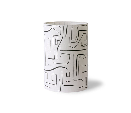 HK-living Lampenkap Printed Cilinder zwart wit textiel ¯24,5x37cm