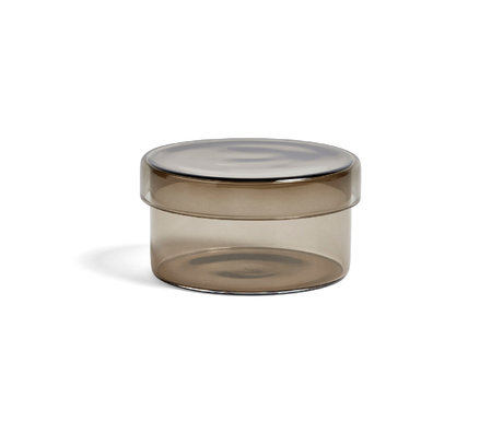 HAY Opbergdoosje Container M grijs glas Ø9,5x5cm